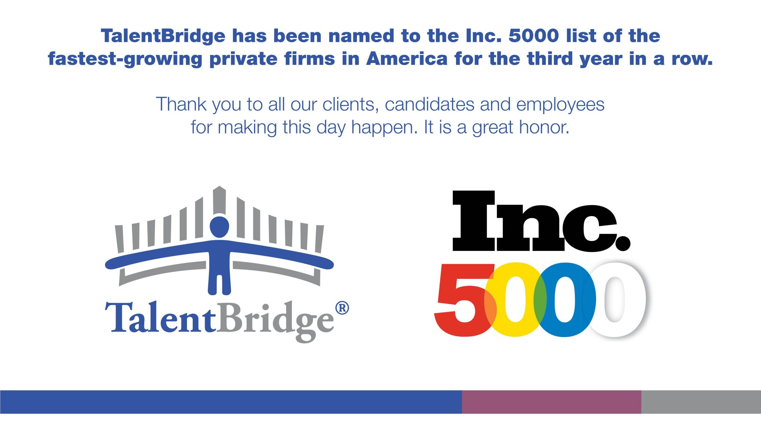 Talentbridge Earns Spot On The Inc. 5000 For Third Consecutive Year